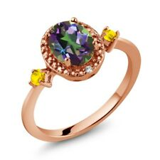 1.48 Ct Oval Green Mystic Topaz Yellow Sapphire 18K Rose Gold Plated Silver Ring