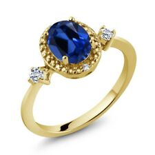 Simulated Sapphire Topaz 18K Yellow Gold Plated Silver Ring With Accent Diamond