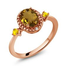 1.18 Ct Oval Whiskey Quartz Yellow Sapphire 18K Rose Gold Plated Silver Ring