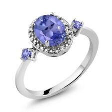 1.33 Ct Oval Blue Tanzanite 925 Sterling Silver Ring With Accent Diamond
