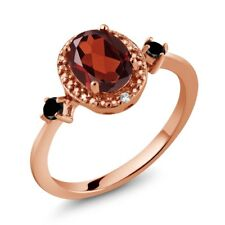1.34 Ct Oval Red Garnet Black Diamond 18K Rose Gold Plated Silver Ring
