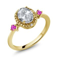 1.47 Ct Oval White Topaz Pink Sapphire 18K Yellow Gold Plated Silver Ring