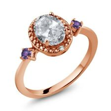 1.43 Ct Oval White Topaz Purple Amethyst 18K Rose Gold Plated Silver Ring