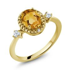 1.21 Ct Yellow Citrine White Created Sapphire 18K Yellow Gold Plated Silver Ring