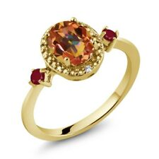 1.55 Ct Oval Ecstasy Mystic Topaz Red Ruby 18K Yellow Gold Plated Silver Ring
