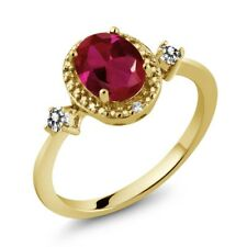 1.29 Ct Oval Red Created Ruby White Diamond 18K Yellow Gold Plated Silver Ring
