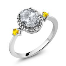 1.48 Ct Oval White Topaz Yellow Sapphire 925 Sterling Silver Ring