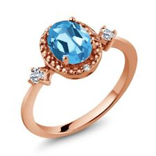 1.47 Ct Oval Swiss Blue Topaz White Topaz 18K Rose Gold Plated Silver Ring
