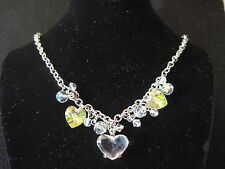 SWAROVSKI CRYSTAL & AURORA BOREALIS HEARTS CHARMS CHOKER NECKLACE