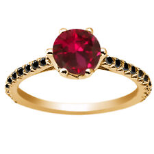 1.37 Ct Round Red Created Ruby Black Diamond 18K Yellow Gold Engagement Ring