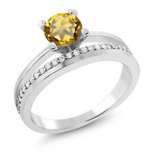 1.05 Ct Round Champagne Quartz 925 Sterling Silver Ring