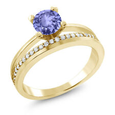 1.15 Ct Round Blue Tanzanite 18K Yellow Gold Plated Silver Ring