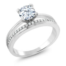 1.45 Ct Round Hearts And Arrows White Created Sapphire 925 Silver Ring