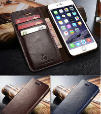 Genuine Leather Flip Wallet Card Case Cover For Apple iPhone 6 6S Plus 6+ 5 5S