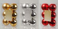 6 Plain Baubles Shatterproof Christmas Xmas Baubles Brand New Choice of Colours