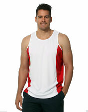 Men's Plain TrueDry Contrast Sports Singlet | Running Sports Gym Training XS-3XL