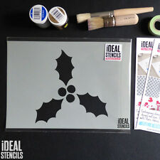 Holly stencil Christmas card making art craft window decorating paint Stencils