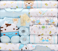 18pcs/Lot Blue Cotton Newborn Baby boy Clothes Set Fall Winter Infant