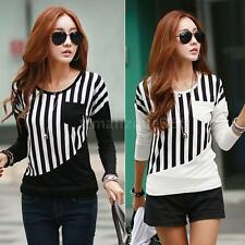 Korean Women Striped Pocket Long Sleeve Casual Blouse Top Tee Shirt T-Shirt 7RT1