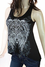 Bling Black Red Or White Rhinestone Fleur De Lis Ripped Back New Tunic Tank Top