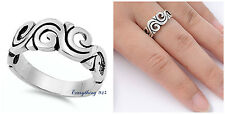 .925 Sterling Silver 9MM PRETTY SWIRL BAND DESIGN SILVER RING SIZES 5-10