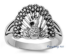 Sterling Silver 925 PRETTY PEACOCK DESIGN SILVER BAND RING 15MM SIZES 5-10