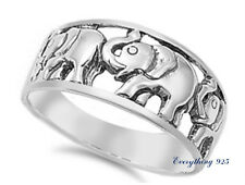 Sterling Silver 925 HIGH POLISH ELEPHANT DESIGN SILVER RING SIZES 10MM 5-10