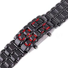 Men Ladies Lava Iron Samurai Metal LED Faceless Bracelet Watch Wristwatch 8B4C