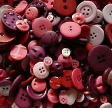 NEW ASSORTED RED COLOURS BUTTONS MIXED CRAFT SEWING ART PYO WEIGHT
