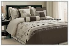 Latte Brown Embro. Pintuck 7pc * KING QUEEN Comforter Set + Valance +3 Cushion