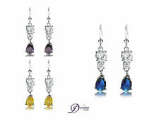 Long Earrings Evening Dangle Sparkle Drop Crystal Hook Cz Gold Plated White 18k