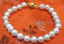 "SALE Small 6 to 7mm Natural White freshwater Pearl 7.5"" bracelet -bra233"