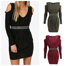 WOMENS LADIES LONG SLEEVE V NECK RUCHED SEQUIN CUT OUT COLD SHOULDER MINI DRESS