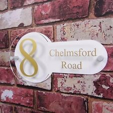 MODERN HOUSE SIGN STREET ADDRESS NUMBER PLAQUE DOUBLE PANEL ACRYLIC PERSONALISED