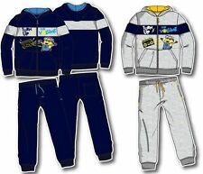 NEW BOYS LICENSED DESPICABLE ME MINIONS TRACKSUIT, HOODIE, GREY & NAVY, 3-8 yrs