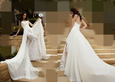 Beauty Sexy Sheath Chiffon & Lace White/Ivory Elegance Handmade Wedding Dresses
