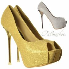 Womens Party High Heel Glitter Peep Toe Party Shoes Gold Heel Silver Gold Size