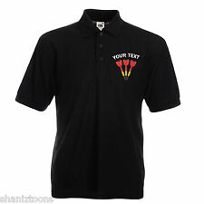 X2 Personalised Fruit Of The Loom Polo Shirts Embroidered Darts Logo With Text