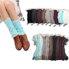 Hot Women Lady Crochet Knitted Lace Trim Boot Cuffs Toppers Leg Warmers Socks