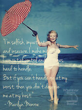 Marlyn Monroe Poster Wall Art Print Famous Quote Picture Cool Gift - All Sizes +