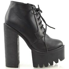 NEW WOMENS BLOCK HIGH HEEL PLATFORM LADIES GOTH PUNK LACE UP ANKLE BOOTS SIZE