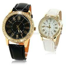 Vogue Womens Bling Crystal Faux Leather Strap Gold Analog Quartz Wrist Watch U27