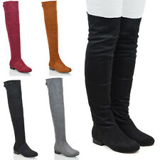WOMENS OVER THE KNEE FLAT LOW HEEL CUT OUT ZIP LADIES TALL THIGH HIGH BOOTS SIZE