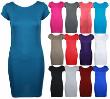 Womens New Plain Short Cap Sleeve Stretch Fit Jersey Ladies Long Top Mini Dress
