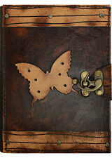 Dotted Butterfly Brown Handmade Leather Journal / Diary / Notebook / Sketchbook