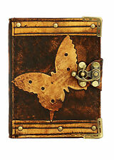 Butterfly Decoration Brown Leather Journal / Diary / Lock / Notebook / Notepad
