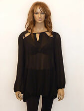 New womens black cut out detail loose fit sheer plus size top 16-26
