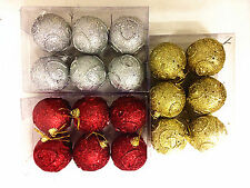 6 BOXED 5cm BAUBLES XMAS CHRISTMAS TREE HANGING DECORATION SILVER GOLD RED