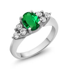 1.24 Ct Oval Green Simulated Emerald White Topaz 18K White Gold Ring