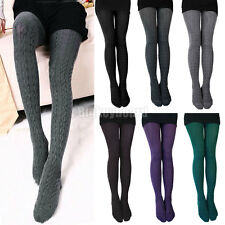 Women Thick Warm Stockings Cotton Blend Twist Stirrup Tights Pantyhose Hosiery